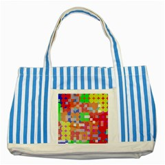 Abstract Polka Dot Pattern Striped Blue Tote Bag