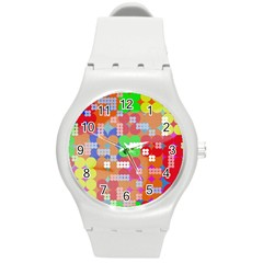 Abstract Polka Dot Pattern Round Plastic Sport Watch (M)