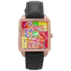 Abstract Polka Dot Pattern Rose Gold Leather Watch