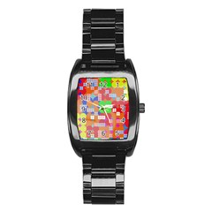 Abstract Polka Dot Pattern Stainless Steel Barrel Watch