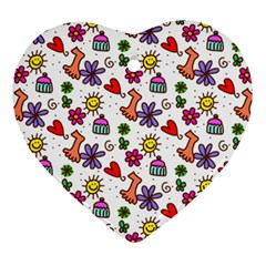 Cute Doodle Wallpaper Pattern Ornament (Heart)