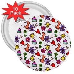 Cute Doodle Wallpaper Pattern 3  Buttons (10 pack)