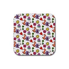 Cute Doodle Wallpaper Pattern Rubber Square Coaster (4 pack)