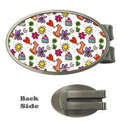 Cute Doodle Wallpaper Pattern Money Clips (Oval)