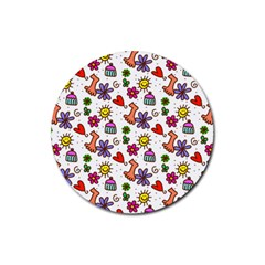 Cute Doodle Wallpaper Pattern Rubber Round Coaster (4 Pack)