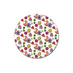 Cute Doodle Wallpaper Pattern Magnet 3  (round)