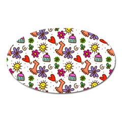 Cute Doodle Wallpaper Pattern Oval Magnet