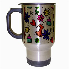 Cute Doodle Wallpaper Pattern Travel Mug (silver Gray)