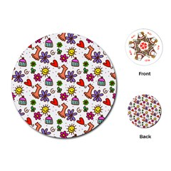 Cute Doodle Wallpaper Pattern Playing Cards (Round)