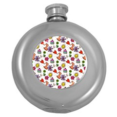 Cute Doodle Wallpaper Pattern Round Hip Flask (5 Oz)