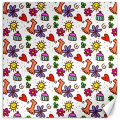Cute Doodle Wallpaper Pattern Canvas 12  X 12