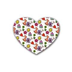 Cute Doodle Wallpaper Pattern Rubber Coaster (Heart)