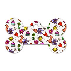 Cute Doodle Wallpaper Pattern Dog Tag Bone (Two Sides)