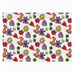 Cute Doodle Wallpaper Pattern Large Glasses Cloth