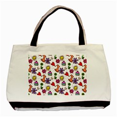 Cute Doodle Wallpaper Pattern Basic Tote Bag (two Sides)