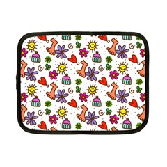 Cute Doodle Wallpaper Pattern Netbook Case (Small)