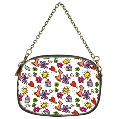 Cute Doodle Wallpaper Pattern Chain Purses (one Side)