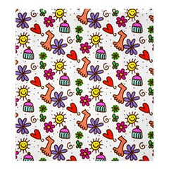 Cute Doodle Wallpaper Pattern Shower Curtain 66  x 72  (Large)