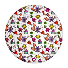 Cute Doodle Wallpaper Pattern Round Filigree Ornament (Two Sides)