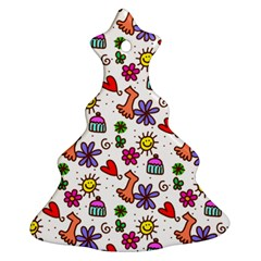 Cute Doodle Wallpaper Pattern Christmas Tree Ornament (two Sides)
