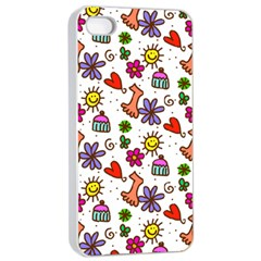 Cute Doodle Wallpaper Pattern Apple iPhone 4/4s Seamless Case (White)