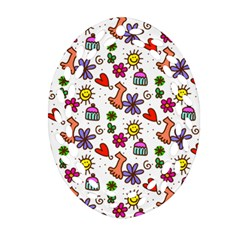 Cute Doodle Wallpaper Pattern Oval Filigree Ornament (two Sides)