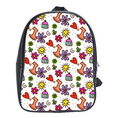 Cute Doodle Wallpaper Pattern School Bags (xl)