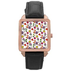 Cute Doodle Wallpaper Pattern Rose Gold Leather Watch