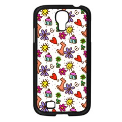 Cute Doodle Wallpaper Pattern Samsung Galaxy S4 I9500/ I9505 Case (Black)