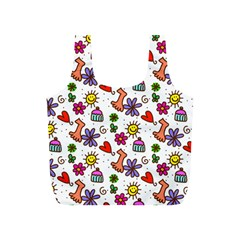 Cute Doodle Wallpaper Pattern Full Print Recycle Bags (S)