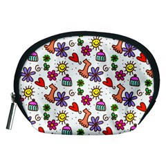 Cute Doodle Wallpaper Pattern Accessory Pouches (medium)