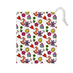 Cute Doodle Wallpaper Pattern Drawstring Pouches (Large)