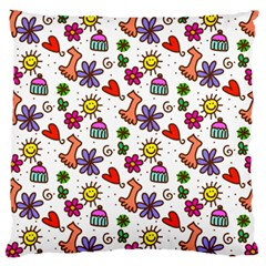 Cute Doodle Wallpaper Pattern Large Flano Cushion Case (One Side)