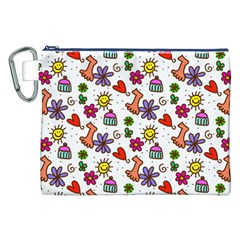 Cute Doodle Wallpaper Pattern Canvas Cosmetic Bag (xxl)