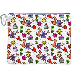 Cute Doodle Wallpaper Pattern Canvas Cosmetic Bag (xxxl)