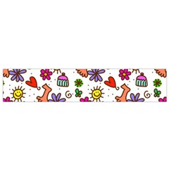 Cute Doodle Wallpaper Pattern Flano Scarf (Small)