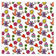 Cute Doodle Wallpaper Pattern Large Satin Scarf (square)