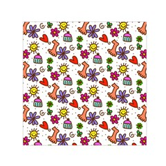 Cute Doodle Wallpaper Pattern Small Satin Scarf (Square)