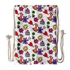 Cute Doodle Wallpaper Pattern Drawstring Bag (large)