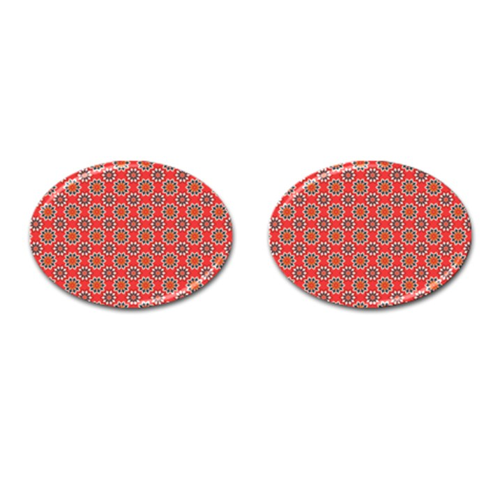 Floral Seamless Pattern Vector Cufflinks (Oval)