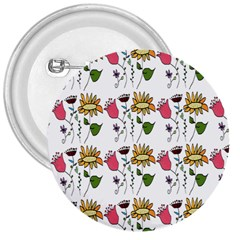 Handmade Pattern With Crazy Flowers 3  Buttons