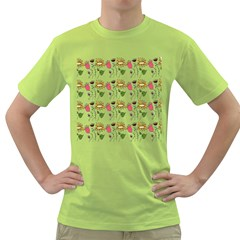 Handmade Pattern With Crazy Flowers Green T Shirt