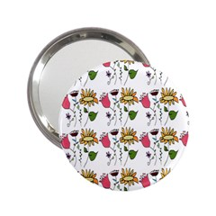 Handmade Pattern With Crazy Flowers 2.25  Handbag Mirrors