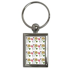 Handmade Pattern With Crazy Flowers Key Chains (Rectangle)