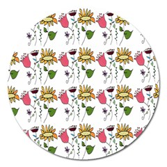 Handmade Pattern With Crazy Flowers Magnet 5  (Round)