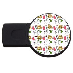 Handmade Pattern With Crazy Flowers USB Flash Drive Round (4 GB)
