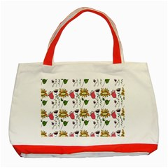 Handmade Pattern With Crazy Flowers Classic Tote Bag (Red)