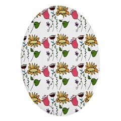 Handmade Pattern With Crazy Flowers Oval Ornament (Two Sides)