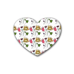 Handmade Pattern With Crazy Flowers Heart Coaster (4 Pack)