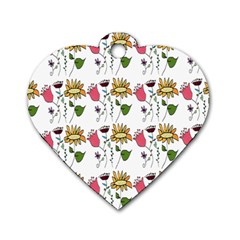 Handmade Pattern With Crazy Flowers Dog Tag Heart (two Sides)